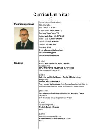Curriculum Avvocato