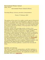 International Winter School - Società Italiana di Storia Internazionale