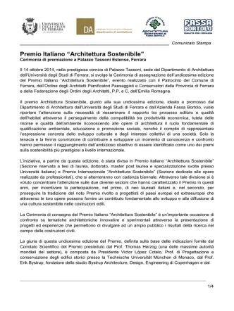 Comunicato Stampa - Ordine Architetti Treviso