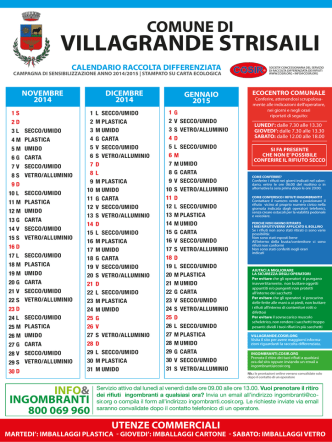 CALENDARIO RACCOLTA DIFFERENZIATA in vigore dal 17/11/2014