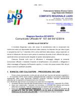 Comunicato Ufficiale N° 107 del 04/12/2014