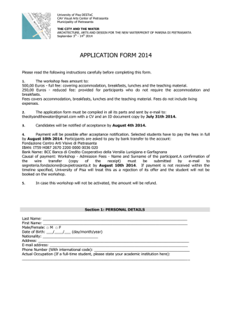 APPLICATION FORM 2014