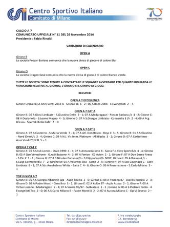 Comunicato n. 11 Commissione Calcio a 7 maschile