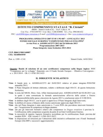 allegati\news\1181\Bando Ente Certificatore Inglese PON FSE