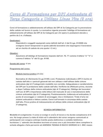 Corso DPI 3 Categoria scheda informativa