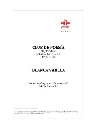 CLUB DE POESÍA BLANCA VARELA