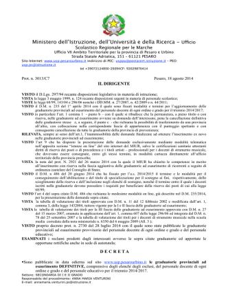 Decreto pubbl. gae definitive personale docente