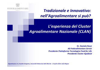 A.D. Federalimentare, Presidente del Cluster CLAN