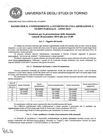 Bando - Università degli Studi di Torino