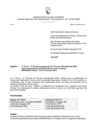 Circolare C.R.FVG FIS relativa alla gara interregionale del 22/10/2014