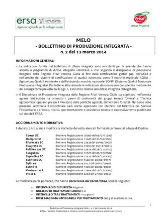 Bollettino produzione integrata melo n.2 del 13 marzo 2014