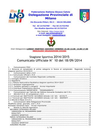 Comunicato Ufficiale N° 10 del 18/09/2014