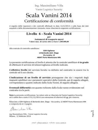Certificazione Scala Vanini 2014 GSN VIGILANZA