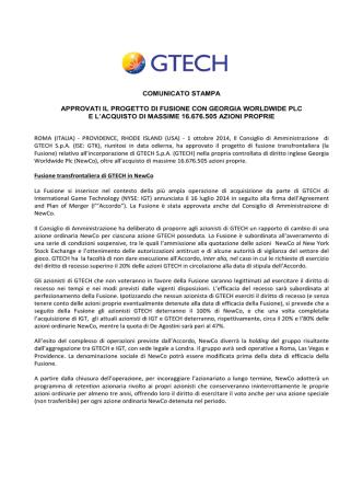 Approvati il Progetto di Fusione con Georgia Worldwide Plc