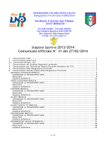 Comunicato Ufficiale n.31 Provinciale