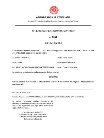 Deliberazione n. 2451 del 17 ottobre 2014, ad oggetto