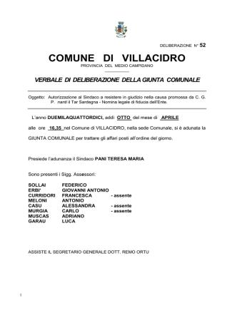 Deliberazione Giunta Comunale n. 52 del 08.04.2014