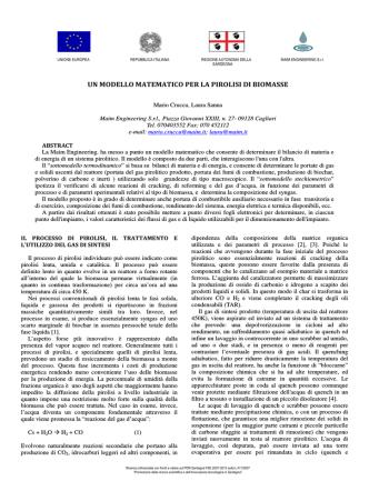 Abstract Modello Matematico per la Pirolisi di Biomasse