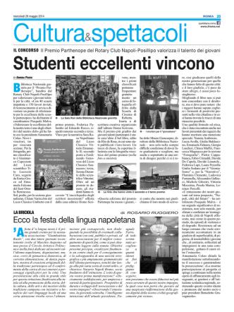 Articolo del Roma 28 maggio 2014 sul Premio Parthenope