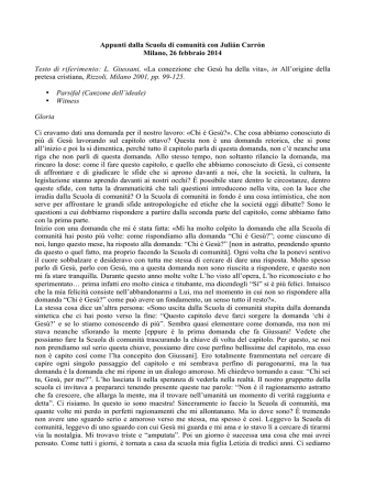 26 febbraio 2014. Appunti SdC con Carrón