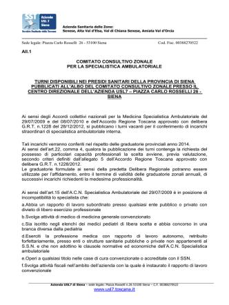 azienda usl7 - Ordine dei medici-chirurghi ed odontoiatri di Siena
