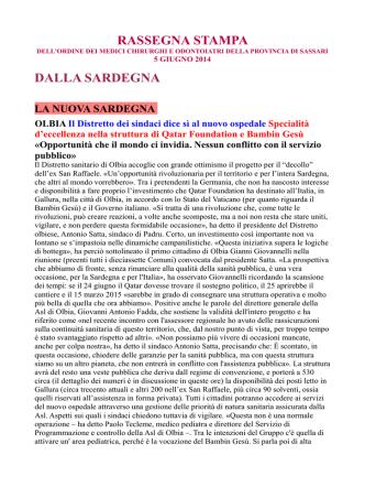 05 Giugno 2014 - OMCeO Sassari