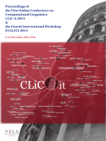 The First Italian Conference on Computational Linguistics CLiC