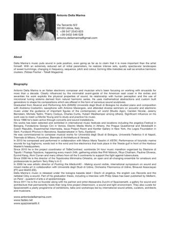 Antonio Della Marina Via Tarcento 6/2 33100 Udine, Italy t. +39 347