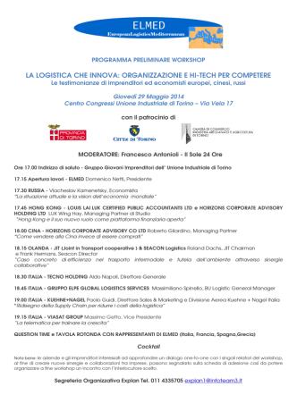 29 maggio ore 17 Unione Industriale Workshop internazional