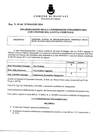 Adozione schema di programmazione triennale delle OO.PP. 2014