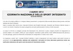 2 MARZO 2014 GIORNATA NAZIONALE DELLO SPORT INTEGRATO