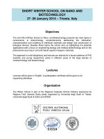 SHORT WINTER SCHOOL ON NANO AND BIOTECHNOLOGY 27