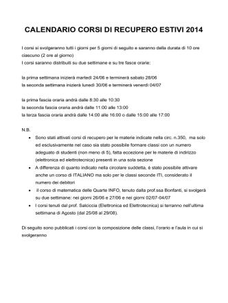 corsi di recupero estivi 2014