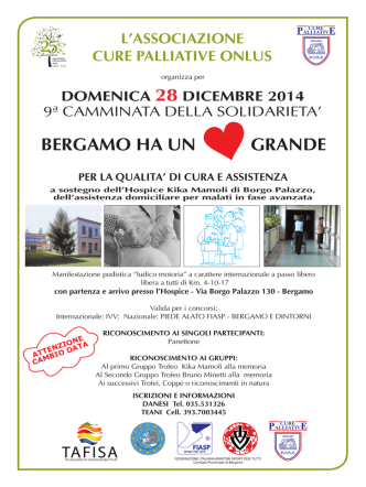 BERGAMO HA UN GRANDE - Associazione Cure Palliative