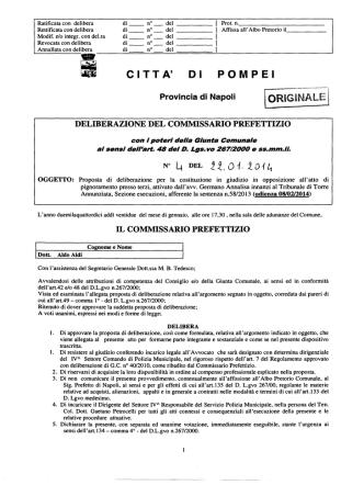 DELIBERAZIONE C. P. N.4 DEL 22.1.2014 Proposta di