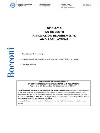 2014-2015 isu bocconi application requirements and regulations