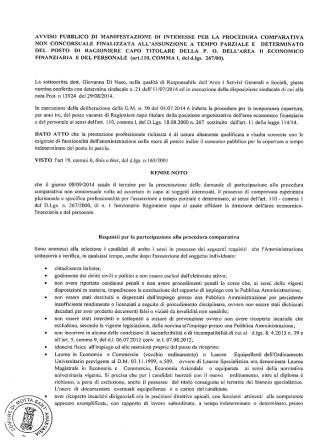 AVVISO PUBBLICO DI MANIFESTAZIONE DI INTERESSE