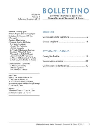 Bollettino n. 3 - 2013 - Ordine dei Medici e Odontoiatri di Como