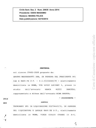 Cass. Civ., II, 02.10.2014, n. 20838