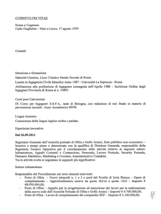Curriculum vitae Segretario Generale Dott. Ing. Carlo Guglielmi