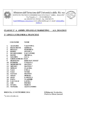 classi seconde 2014-2015 12 settembre
