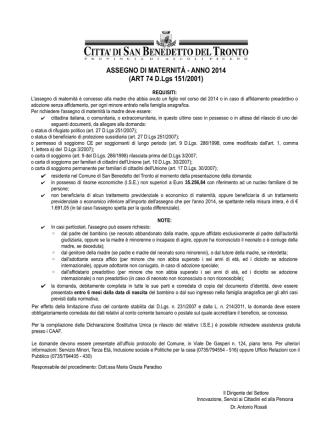 ASSEGNO DI MATERNITÀ - ANNO 2014 (ART 74 D.Lgs 151/2001)