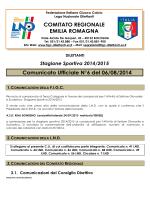 Comunicato Ufficiale N°6 del 06/08/2014