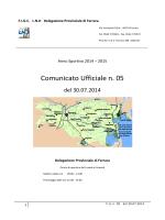 Comunicato Ufficiale n. 05 - FIGC Delegazione Provinciale di Ferrara