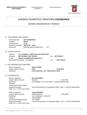 AZIENDA FAUNISTICO VENATORIA CASABIANCA