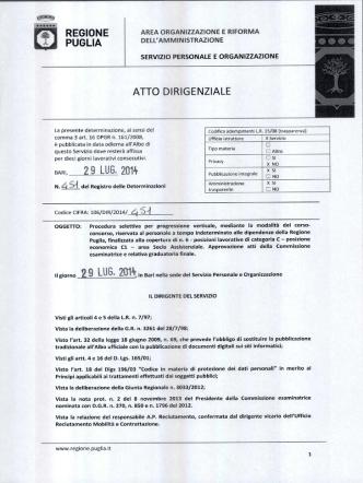2 9 LUG, 2014 - Concorsi Regione Puglia