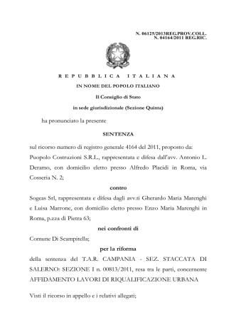 Consiglio di Stato Sentenza N. 6125-2013