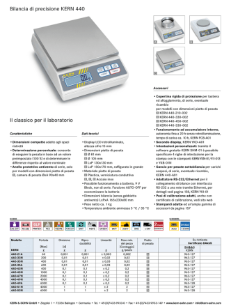 Bilancia di precisione KERN 440 Un classico per il laboratorio