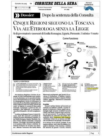 """Cinque Regioni seguono la Toscana"""" (Corriere della"""