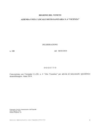 DELIBERAZIONE n. 188 del 06/03/2014